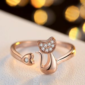 Jewelry - Gold Kitty Cat Shape CZ Zircon Adjustable Ring